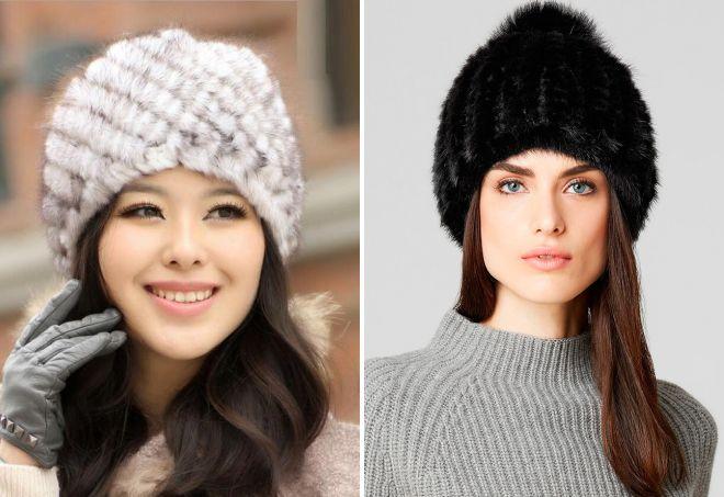 модные меховые вязаные шапки