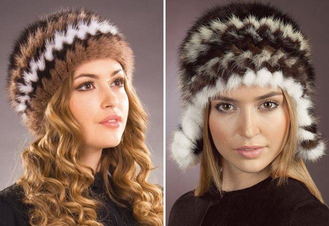 модные шапки из вязаной норки