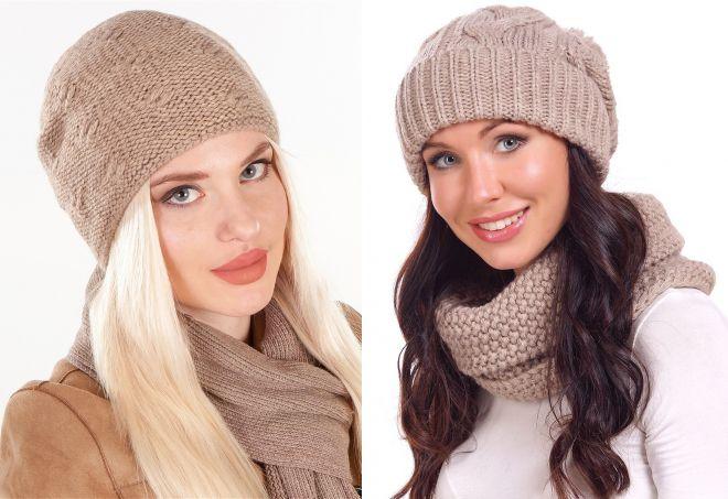 самые модные вязаные шапки для женщин объемные с отворотом