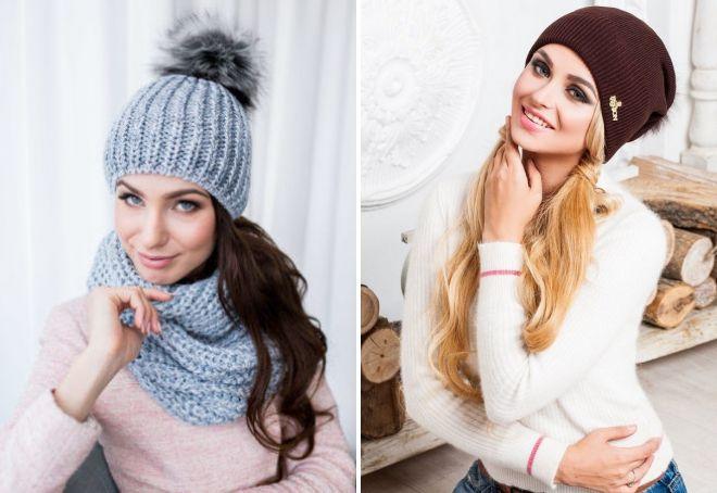 модели модных вязаных шапок