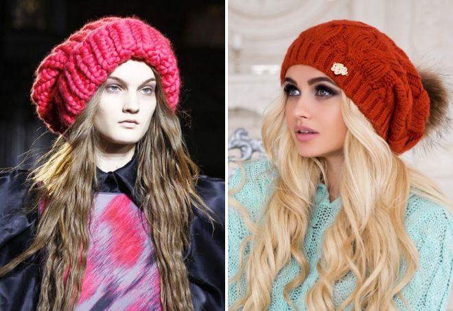 модные вязаные шапки крупной вязки