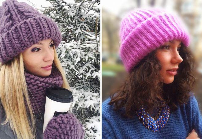 модные вязаные шапки с отворотом