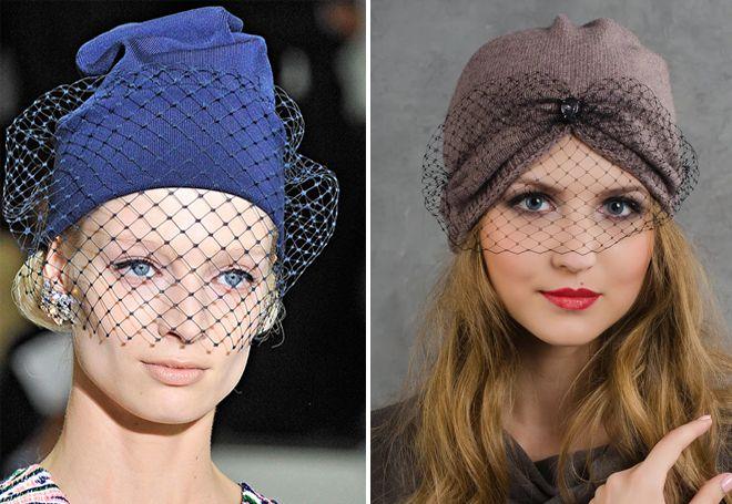 bonnet tricoté avec un voile