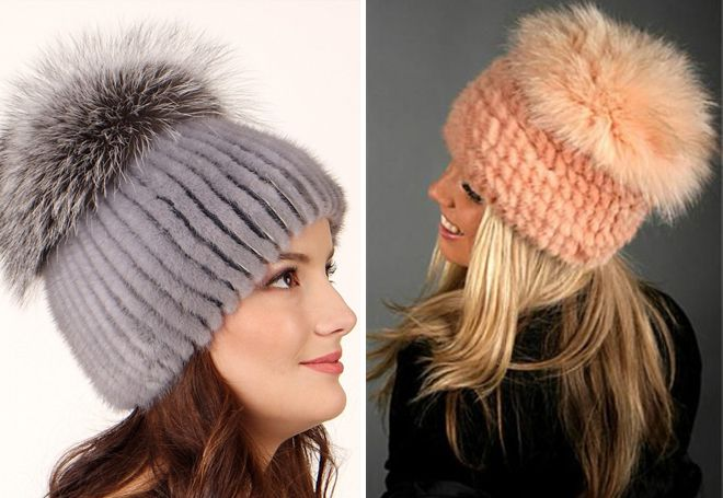 chapeaux de fourrure sur une base tricotée
