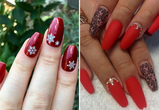 Manucure 2018 rouge sur ongles longs