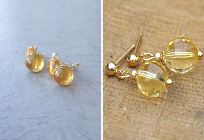 گوشواره گلدوزی طلایی با سیتروئن