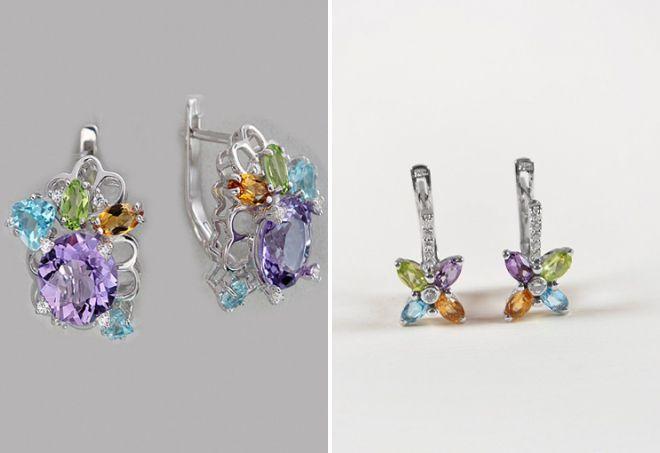 گوشواره های زیبا با سیتروئن و کریسولیت