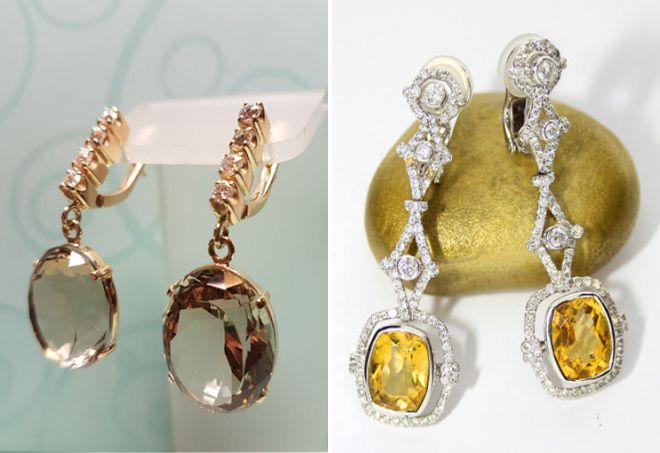 گوشواره های طلای با سیتروئن و الماس