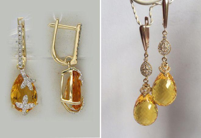 گوشواره با طلا citrine