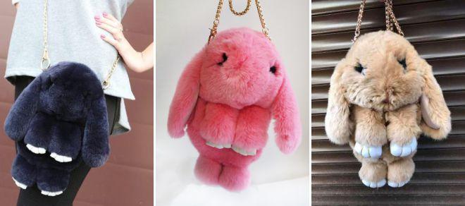 сумка заяц из меха