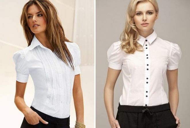 женская белая офисная рубашка