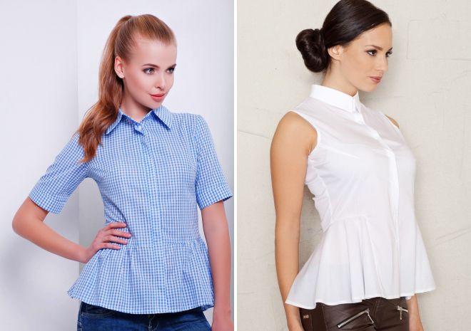 женская деловая рубашка с баской