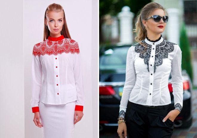 женская деловая рубашка с кружевом для офиса