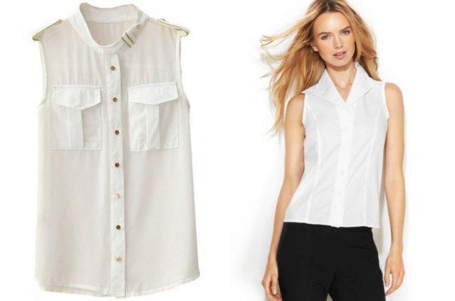 женская деловая рубашка без рукавов