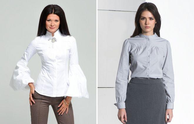 женская деловая рубашка с воротником стойкой