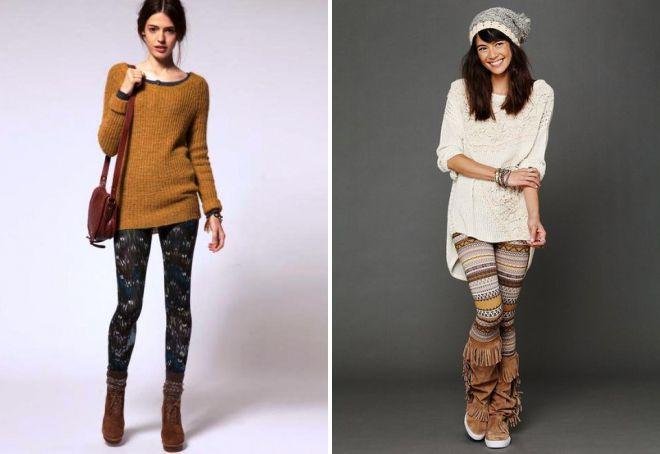 цветные лосины с длинным свитером