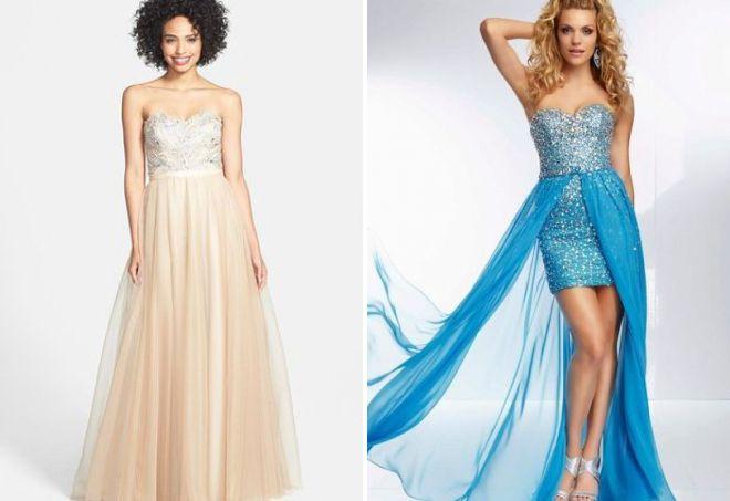 вечерние платья без бретелек