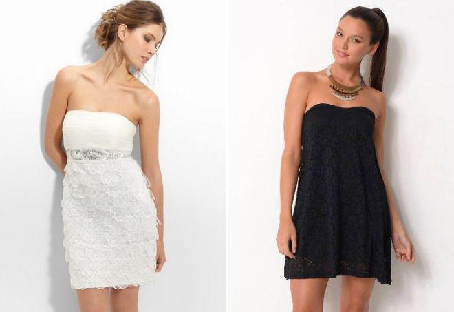 платье без бретелек прическа