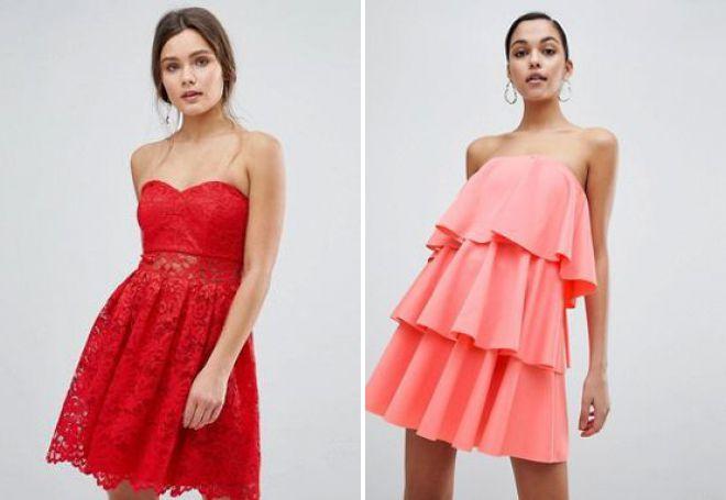короткие платья без бретелек