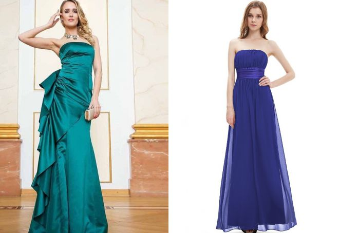 длинные платья без бретелек
