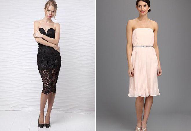стильное платье без бретелек