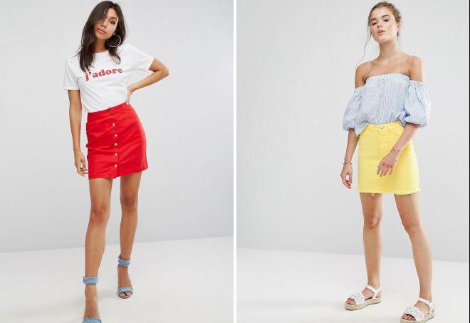 стильные джинсовые юбки 2018