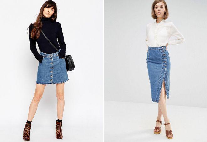 джинсовая юбка 2018 с пуговицами