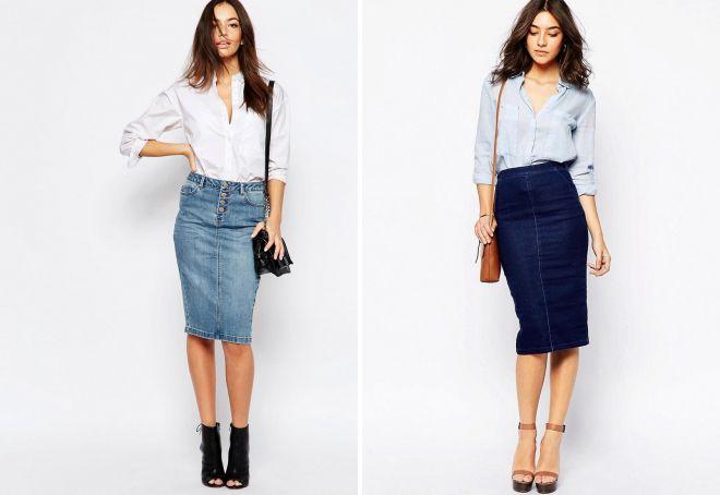 джинсовая юбка-карандаш 2018