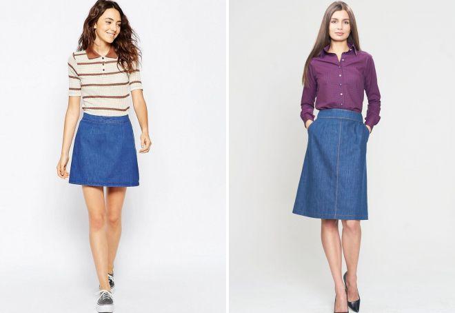 джинсовая юбка-трапеция 2018