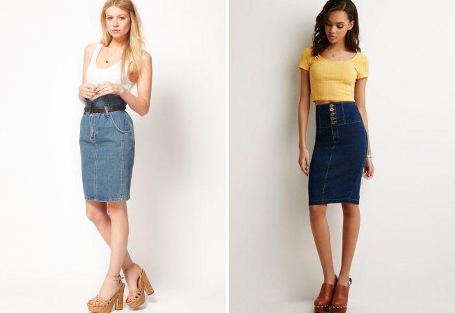 джинсовая юбка 2018 с завышенной талией