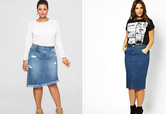 джинсовые юбки 2018 года для полных