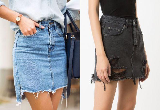 джинсовые юбки 2018 года модные тенденции