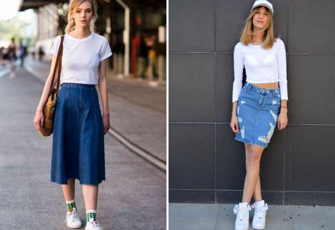 с чем носить джинсовую юбку 2018
