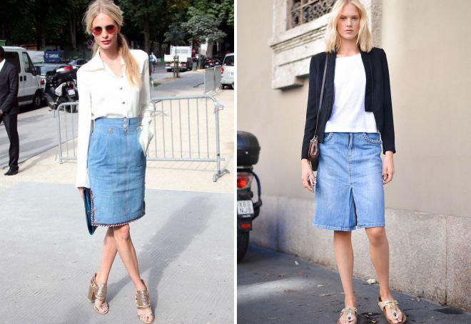 модные образы с джинсовой юбкой 2018
