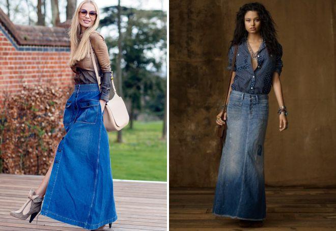 джинсовая юбка макси 2018