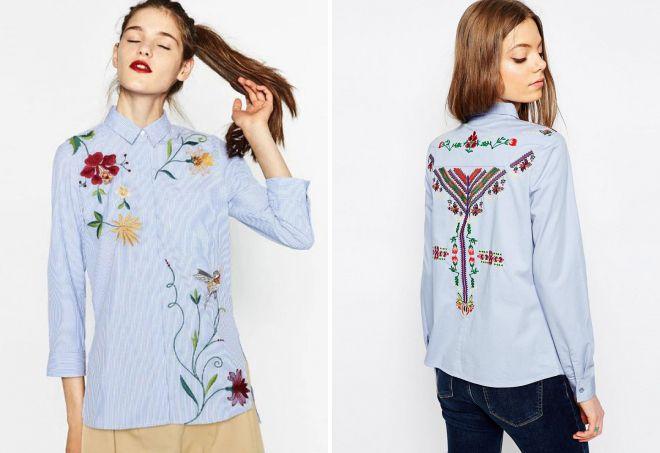 модные рубашки с вышивкой