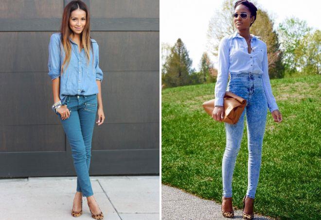 женская рубашка с джинсами