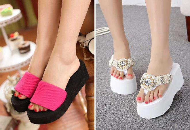 пляжная обувь на платформе