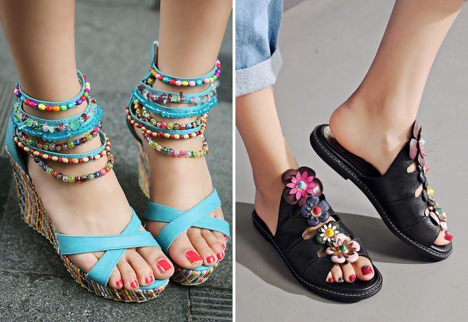 женская обувь для пляжа и моря