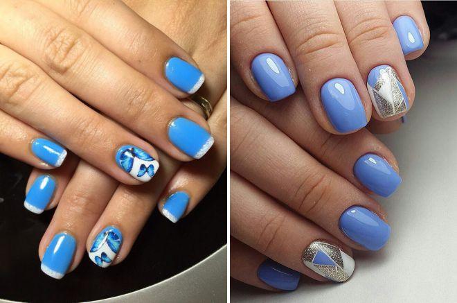голубые ногти дизайн 2018