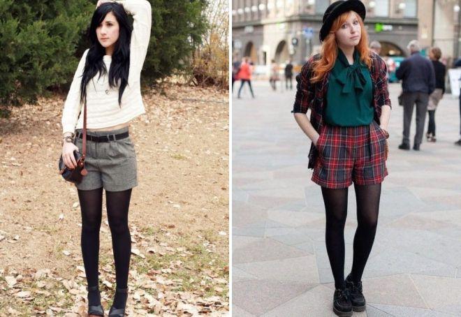 классические шорты с колготками