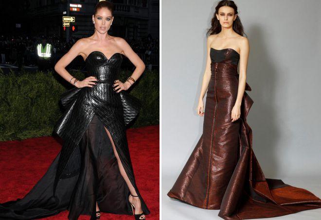 кожаное платье в пол
