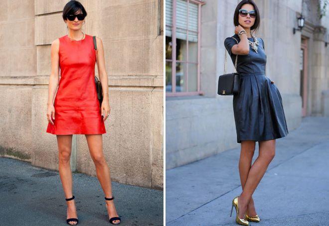 девушки в кожаных платьях