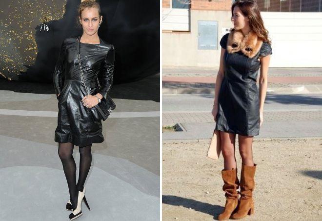 кожаное платье с каблуками
