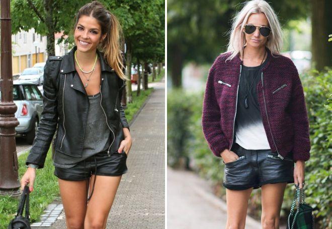 кожаные шорты и куртка