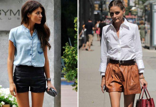 кожаные шорты и рубашка