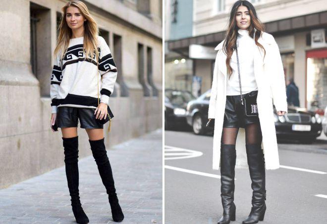 кожаные шорты и ботфорты