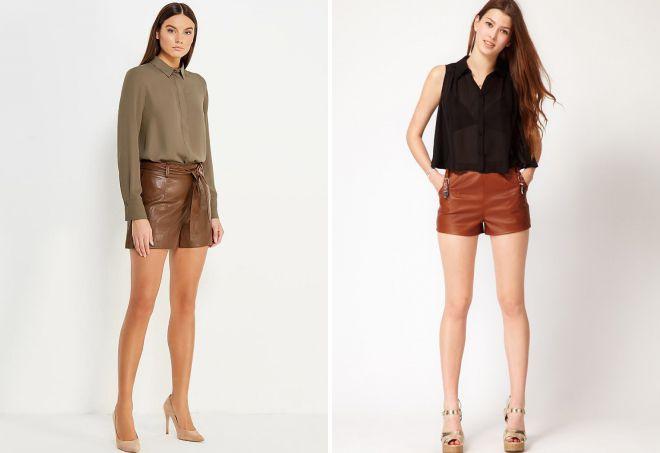 кожаные шорты модный образ
