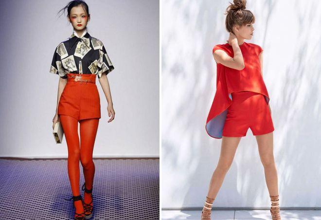 красные шорты с высокой талией