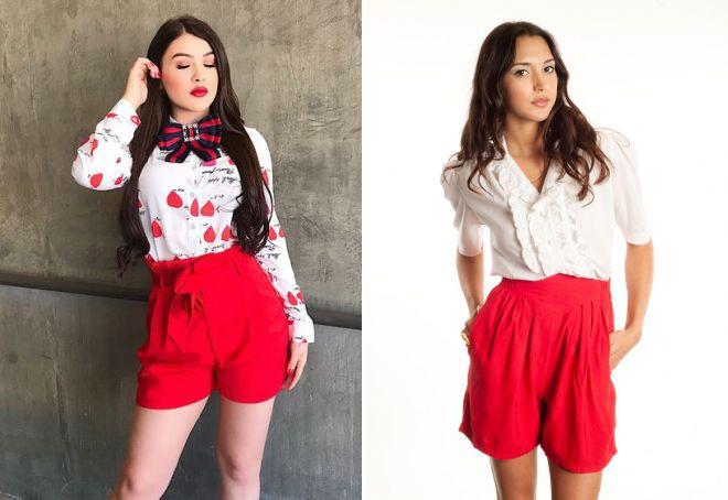 стильные красные шорты